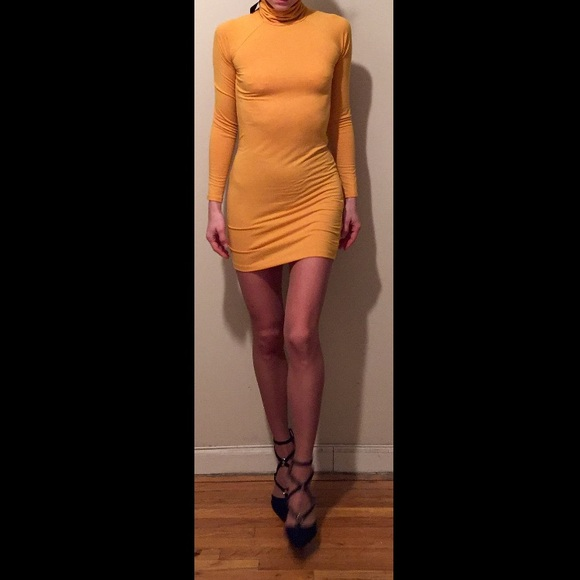 fe14b8cbeb5 Forever 21 yellow mustard Turtleneck Bodycon Dress